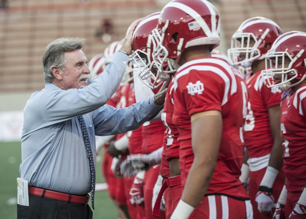 Mater Dei coach Bruce Rollinson, left, has the top-ranked team in the nation, according to several national polls released recently. (File photo: Orange County Register/SCNG)