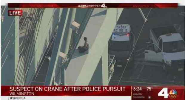 A man sits on crane 87 in the Port of Los Angeles (Image courtesy of NBC4 Los Angeles)