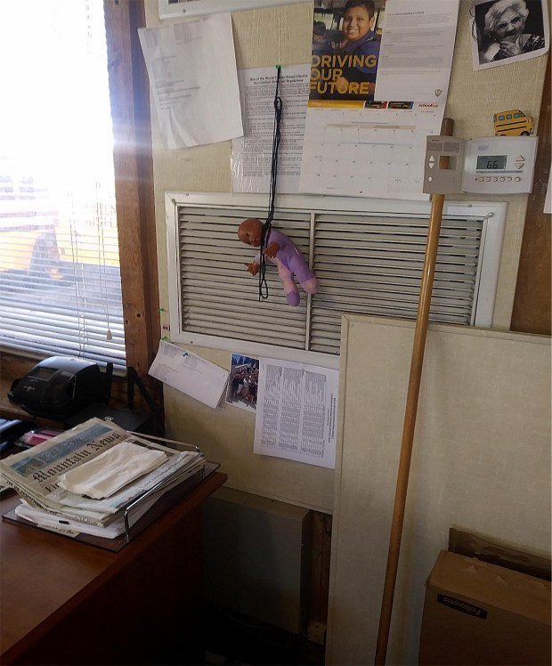 Months after Rim of the World Unified was embroiled in controversy over the Confederate flag, district employees hanged a black baby doll (pictured here) by the neck on a public bulletin board. (Courtesy photo to The Sun/SCNG)