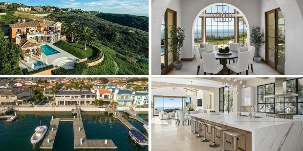 Some of the homes that sold for the highest sums at midyear 2017. Clockwise from left: Photos by David Heath, Chris Snitko, Brandon Beechler, Chris Snitko. Composite by Marilyn Kalfus, Orange County Register/SCNG