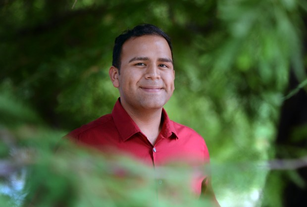 Mark Casas, recent Cal State Fullerton graduate who participated in Guardian Scholars - the school's program for former foster youth - has his portrait taken on Tuesday, June 6, 2017 at California State University Fullerton in Fullerton, Ca. (Micah Escamilla, Redlands Daily Facts/SCNG)