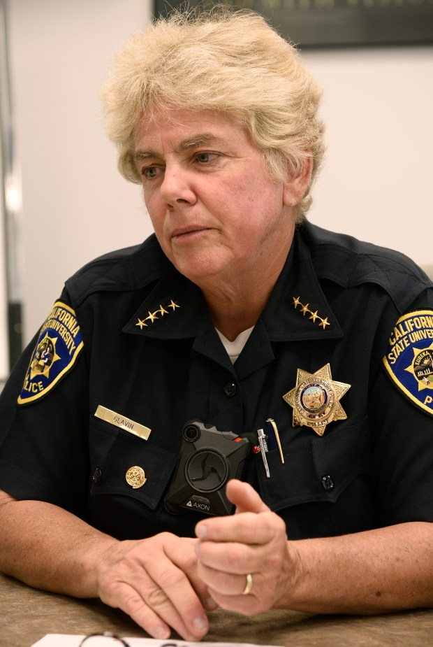 Cal State Northridge Police Chief Anne Glavin discusses her officers' body cameras. Northridge, CA 9/1/2017 (Photo by John McCoy, Los Angeles Daily News/SCNG)