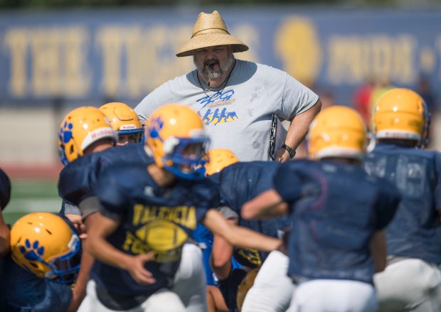 Head football coach Jason Gray watches his players during practice at Valencia High School in Placentia, CA on Tuesday, September 5, 2017. (Photo by Kevin Sullivan, Orange County Register/SCNG)