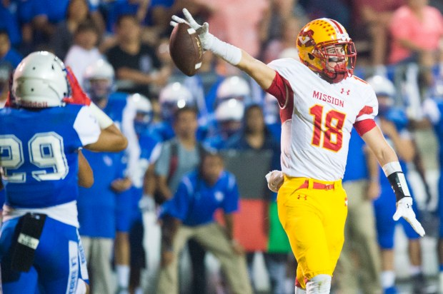 Mission Viejo's Austin Osborne gestures after a first down catch during a game at La Habra high school in La Habra on Friday, September 8, 2017. (Photo by Matt Masin, Orange County Register, SCNG)