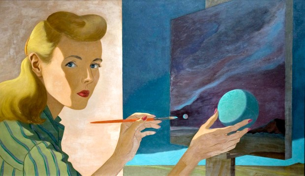 Self-Portrait by Helen Lundeberg, oil on masonite, 1944, at the Laguna Art Museum. ///ADDITIONAL INFO: lagunaartlundeberg.0306 - 3/2/16 - Photo by PAUL RODRIGUEZ - New exhibits at the Laguna Art Musuem include a retrospective of the work of Helen Lundeberg, an exhibit of the work of modernist Frederick Hammersley, and an exhibit title City Life, Los Angeles.