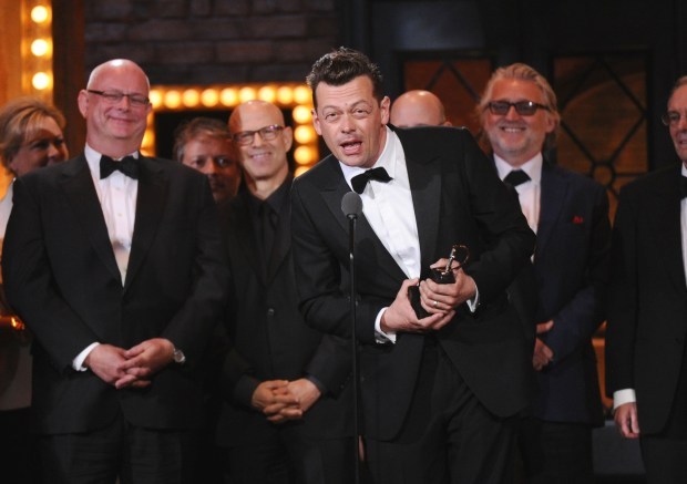 """""""The Curious Incident of the Dog in the Night-Time"""" at the 69th annual Tony Awards at Radio City Music Hall on Sunday, June 7, 2015, in New York. (Photo by Charles Sykes, Invision/AP)"""