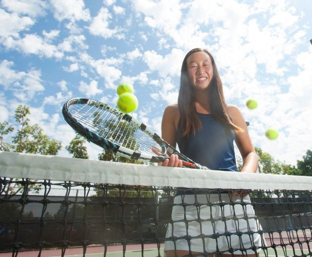 Beckman tennis player Ashley Teng is one of the top players in the county in Irvine on Tuesday, September 12, 2017. (Photo by Sam Gangwer, Orange County Register/SCNG)