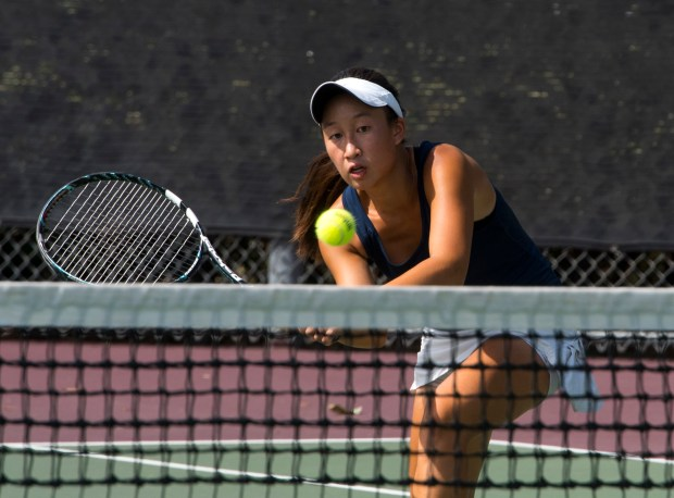 Beckman tennis player Ashley Teng is one of the top players in the county returns a shot against Mater Dei in Irvine on Tuesday, September 12, 2017. (Photo by Sam Gangwer, Orange County Register/SCNG)