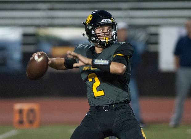 Capistrano Valley quarterback Nathan Manning drops back to throw a pass against Yorba Linda in a non-league game at Capistrano Valley High in Mission Viejo on Friday, September  15, 2017. (Photo by Sam Gangwer, Orange County Register/SCNG)