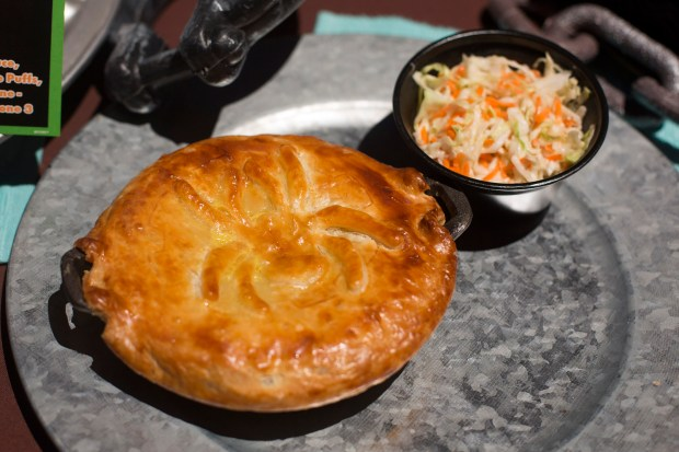 The Car-achnid Pot Pie features chicken, dried cranberries, and a butter-crust spider available at Flo's V-8 Cafe inside Disney California Adventure on Friday, September 15, 2017. (Photo by Drew A. Kelley, Contributing Photographer)