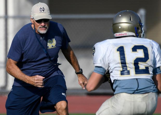 Notre Dame football head coach Kevin Rooney runs and participates in drills with his players. Sherman Oaks CA 9/19/2017 (Photo by John McCoy, Los Angeles Daily News/SCNG)