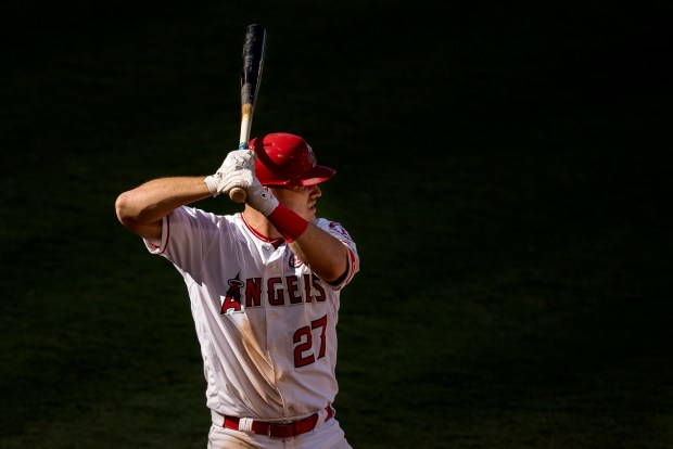 The Angels' Mike Trout bats in the eighth inning of Thursday's game against the Cleveland Indians at Angel Stadium. (Photo by Paul Rodriguez, Orange County Register/SCNG)