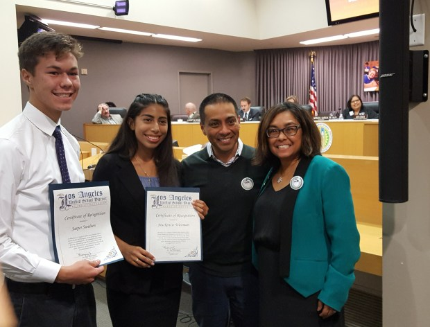 Photo by Antonie BoessenkoolLos Angeles Unified School District Board Member Ref Rodriguez, second from right, recognizes Principal Mylene Keipp of Eagle Rock High School, far right, and students for the school's 90th anniversary at a board meeting on Sept. 19, 2017.