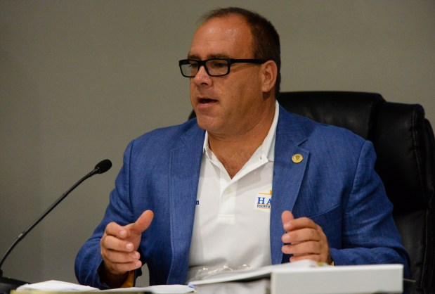 Commissioner Curt Hagman speaks during a meeting at the Ontario International Airport Authority in Ontario, Calif. on Thursday, Sept. 28, 2017. (Photo by Rachel Luna, Inland Valley Daily Bulletin/SCNG)