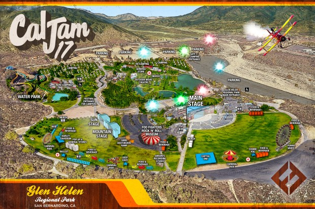 A map of the festival and camping grounds for Cal Jam 17. (Illustration courtesy of Live Nation)