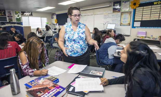 Cassandra Silverstein teaches theater arts at Middle College High School. (Photo by Mark Rightmire, Orange County Register/SCNG)