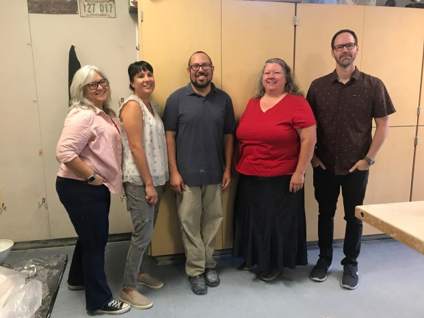 From left, Catherine Wilson, Lauren Schultz, Ryan Reich, Sherrie Olive and Brian Johnson teach at Valencia High School. (Photo courtesy of Valencia High School)