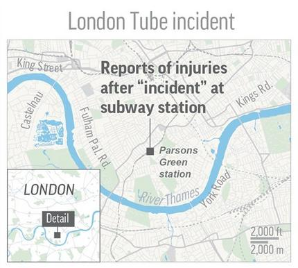 A map shows the location of incident at Parsons Green subway station in London. (The Associated Press)