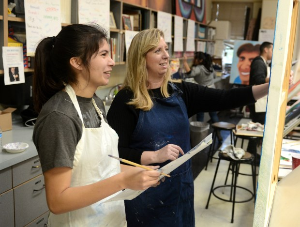 Judith Westing, right, teaches visual arts at Santa Ana High School. (Photo by Bill Alkofer,Orange County Register/SCNG)