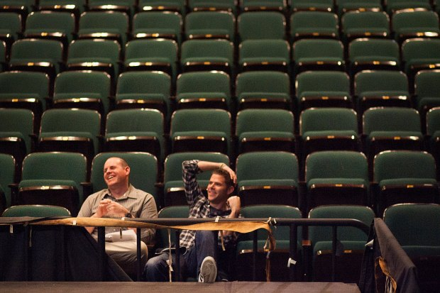 Kyle Chittenden, left, teaches drama and technical theater at Irvine High School. (Photo by Foster Snell, Orange County Register)
