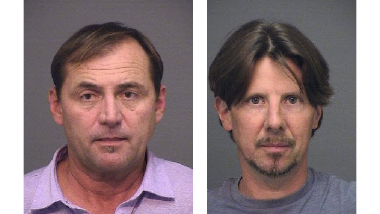 Wesley Lewison, left, and Greg Roberts are seen after their arrest in May 2017. (File photos by Huntington Beach Police Department)