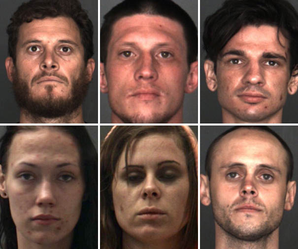 Six Yucaipa residents and a 17-year-old male were arrested Friday on multiple charges. The six adults were, top row, from left, Christopher Hinckley, Bryan Holdenbarth and Daniel Isai; and bottom row, from left, Misty Laur, Krystal Michael and William Santo Salvo. Courtesy of San Bernardino County Sheriff's Department