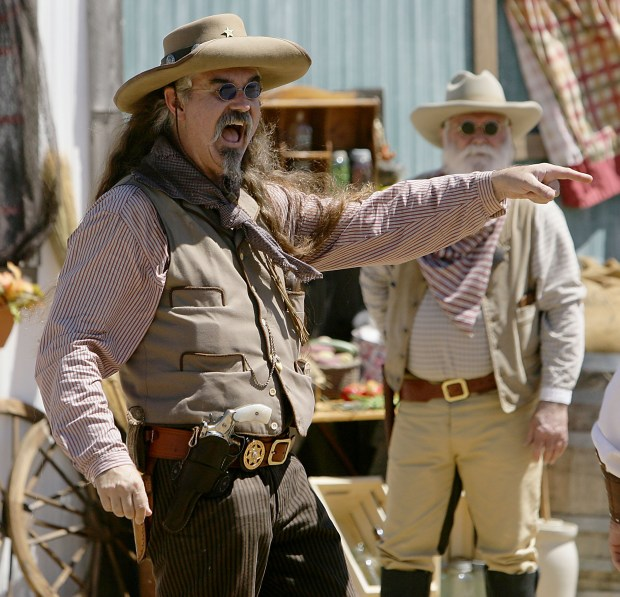 Texas Jack played by Mike Mills of Surprise, AZ. in the wild west show during Stagecoach Days at A.C. Dysart Park in Banning, CA. Saturday, Sep. 10, 2016. TERRY PIERSON,THE PRESS-ENTERPRISE/SCNG