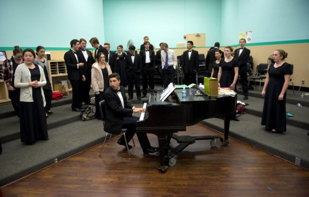Ryan Yoder teaches choral music at El Dorado High School. (Photo by Matt Masin, Orange County Register)