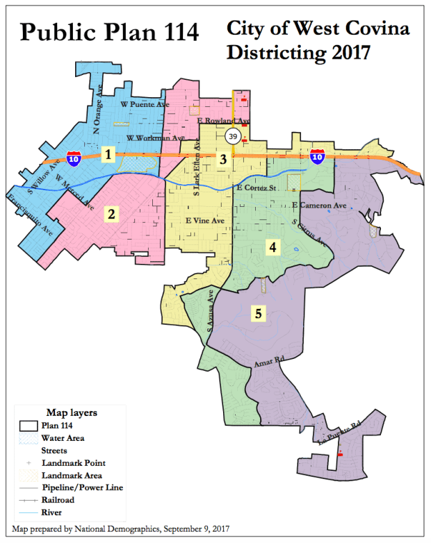 The above map submitted by resident John Shewmaker is an example of a vertical map that splits West Covina into north-south districts. (Courtesy of the City of West Covina)