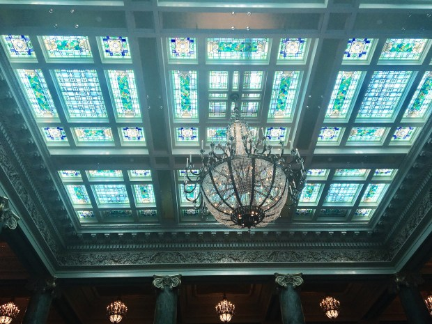 Stained glass ceiling of the former Hotel Utah in Salt Lake City, now the Joseph Smith Memorial Building. Free to the public. Credit: Marla Jo Fisher, Orange County Register