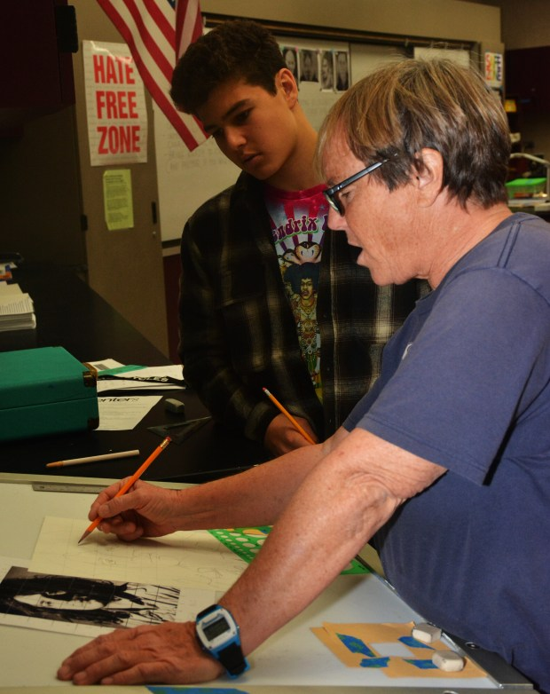 Valerie Johnson, right, teaches drawing and painting at Aliso Niguel High School. (Courtesy of Aliso Niguel High School)