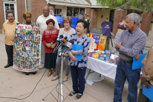 Small shop owners at Ports O' Call Village in San Pedro held press conference Tuesday September 19, 2017 to protest their pending eviction set for Oct 2 from the property and to announce they are filing a lawsuit. The village is to be replaced with $100 million San Pedro Public Market project. Business owner Sara Lee speaks to cameras.Photo by Robert Casillas, Daily Breeze/SCNG
