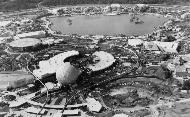 Epcot center is shown in an aerial view during the final phase of its construction in July 1982. (File photo by Scott Maclay, The Associated Press))
