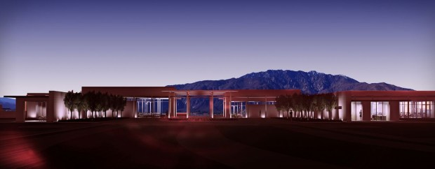 A vision of how the clubhouse at Miralon in Palm Springs will look. The design is by Robert Hidey Architects of Irvine. (Rendering courtesy of Freehold Communities)