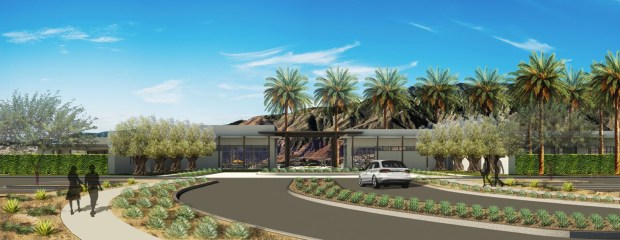 The entrance to the Miralon community, an agri-hood - or agricultural neighborhood - being developed in Palm Springs. When completed it is expected to have 1,150 homes, dozens of olive groves and other farm-to-table features. (Rendering courtesy of Freehold Communities)