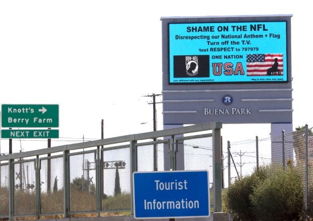 An electronic billboard urging NFL fans to tune out national football games can be seen from the southbound 5 freeway near the Beach Boulevard exit in Buena Park on Sunday, October 15, 2017. The billboard was paid for by Orange County resident Fred Denny, who is a real estate agent in the Long Beach area. (Photo by Mindy Schauer, Orange County Register/SCNG)