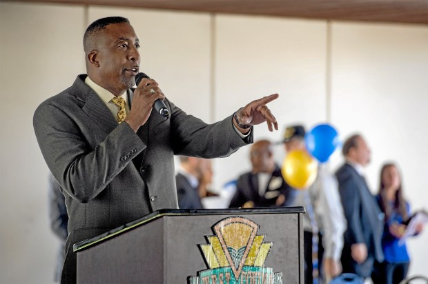 Master of Ceremonies Damon Alexander speaks during West Covina's 16th Annual Martin Luther King, Jr. celebration Jan. 19, 2015. The city partners with the NAACP for the event. (Photo by Leo Jarzomb/San Gabriel Valley Tribune)