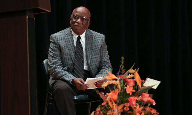 Lee A. Mitchell, Jr. listens to guest speakers during his plaque dedication ceremony. The Norwalk-La Mirada Unified School District dedicates a plaque to Lee Mitchell, a retired band director and the first African-American teacher in the district on Saturday, Oct. 14, 2017. (Photo by Shilah Montiel for SCNG)