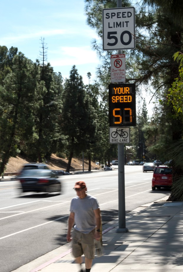 Motorists travel southbound as a speed warning sign displays their speed on Tampa Avenue in Porter Ranch on Tuesday, Oct. 17, 2017. (Photo by Ed Crisostomo, Los Angeles Daily News/SCNG)