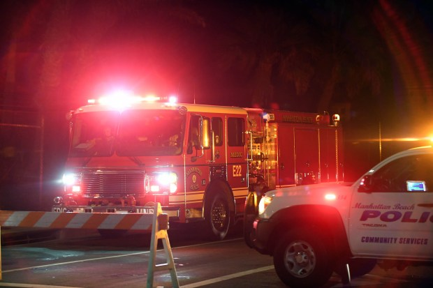 Manhattan Beach fire department paramedics leave the El Segundo Chevron Refinery late Tuesday evening after a fire was quickly extinguished.Photo for The Daily Breeze by Axel Koester, 10/17/2017.
