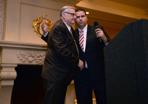 Ex Maricopa County Sheriff Joe Arpaio,left, takes the stage to speak during a campaign event at Trump National Golf Club in Rancho Palos Verdes, for Omar Navarro, right, a South Bay Republican challenger to incumbent Rep. Maxine Waters. Rancho Palos Verdes Calif., Thursday, October 18, 2017. ( Photo by Stephen Carr / Daily Breeze / SCNG )