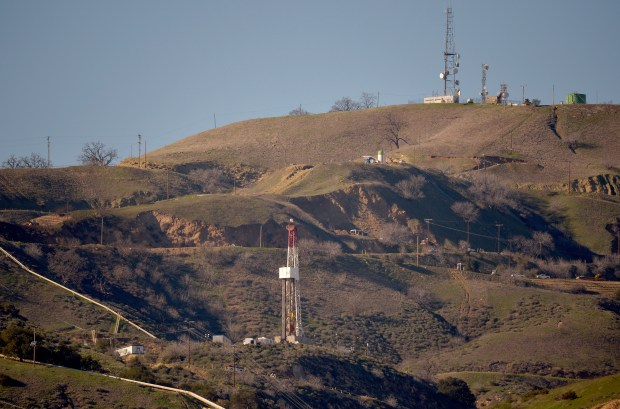 The relief well, center bottom, above Porter Ranch on Monday, Janurary 25, 2016. Technicians stopped a major methane leak above Porter Ranch and killed the damaged well. (Photo by Dean Musgrove/Los Angeles Daily News)