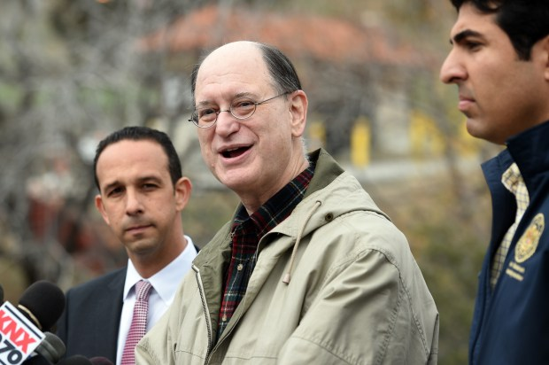 Congressman Brad Sherman talks to the media after touring the site of the natural gas leak at SoCalGas' Aliso Canyon Storage Facility in Porter Ranch as Councilman Mitch Englander and Assemblymember Matt Dababneh look on, Tuesday, January 19, 2015. (Photo by Hans Gutknecht/Los Angeles Daily News)