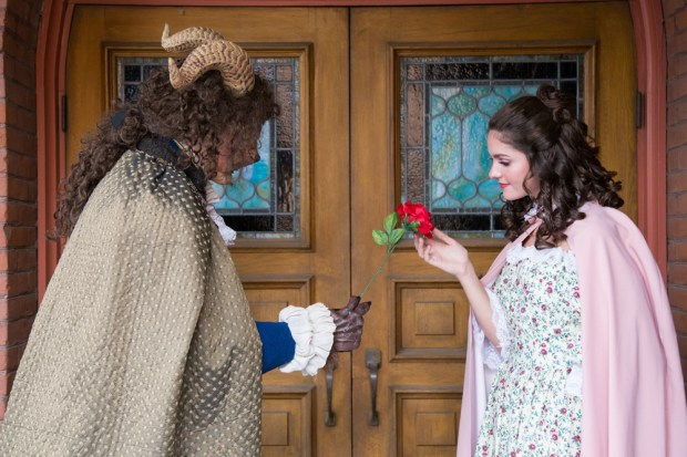 "Jacob Williams plays the Beast and Grace Stocks plays Beauty in LifeHouse Theater's musical adaptation of ""Beauty and the Beast."" (Photo by Elizabeth Ekema-Nardella)"