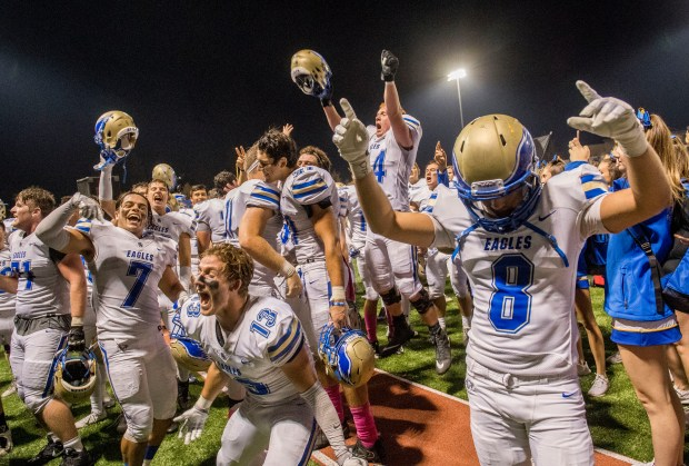 The Santa Margarita Eagles celebrate their win over JSerra in San Juan Capistrano on Friday, October 27, 2017. (Photo by Paul Rodriguez, Orange County Register/SCNG)