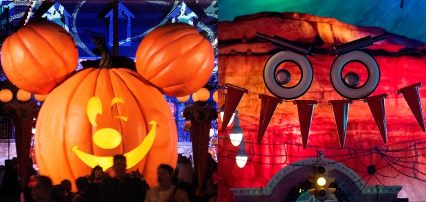 Disneyland's Main Street U.S.A. non-threatening, winking pumpkin contrasts with an edgier Haul-O-Ween presence at Disney California Adventure's Radiator Springs on Mon., Oct. 30. (Photo by Cindy Yamanaka, Orange County Register/SCNG)