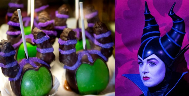 "Maleficent caramel apples ($10.99) appear green with envy at Disney California Adventure's Trolley Treats while the Sleeping Beauty ""Mistress of Evil"" is a more soothing violet shade at Disneyland where she poses for pictures on Tues., Oct. 24. (Photo by Cindy Yamanaka, Orange County Register/SCNG)"