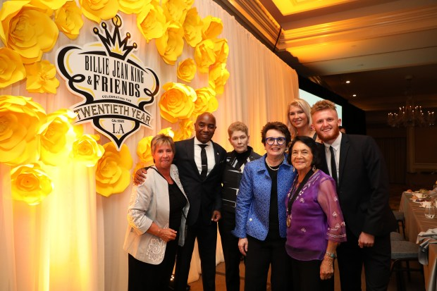 Front row, Tennis star Rosie Casals, left, Cal State LAÕs Executive Director for Athletics, Daryl Gross, Tam OÕShaughnessy, Billie Jean King, and Dolores Huerta, back row, Elizaveta Sokolova and Sam Croucher pose at the Billie Jean King & Friends gala held on Oct. 21, 2017 at Pasadena's Langham Huntington Hotel. (Courtesy Photo/ J. Emilio Flores, Cal State LA)