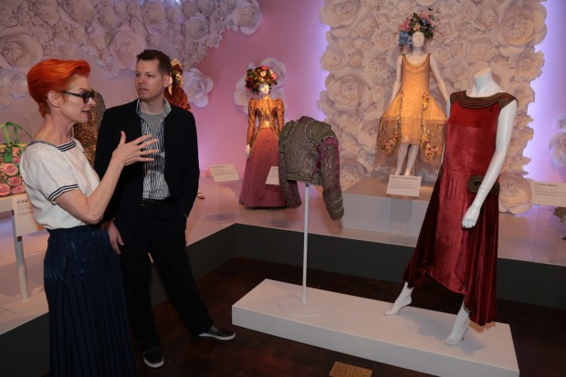 "Revered costume designer Sandy Powell is given a tour by Kevin Jones, curator at FIDM Museum, as she visits the museum at the Fashion Institute of Design & Merchandising, while celebrating her new film ""Wonderstruck"" on Tuesday, October 17, 2017(Courtesy photo/ Alex J. Berliner/ABImages)"
