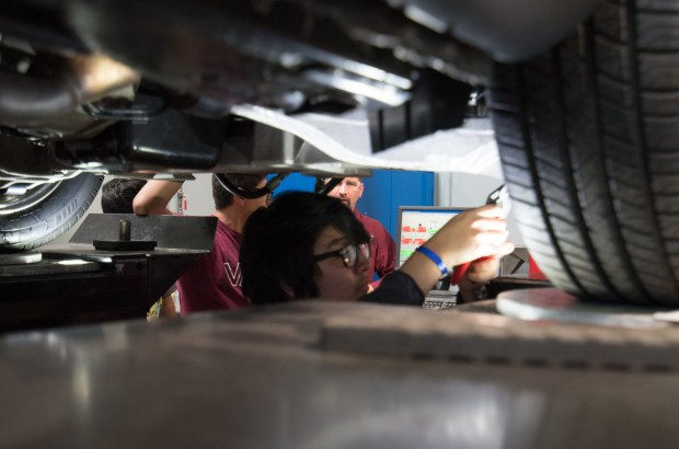 Inland Empire high school students gathered Friday in high-tech labs at Universal Technical Institute's Rancho Cucamonga campus for STEM-related activities, such as virtual welding, motor building, computer technology to work headlight boards, and perform alignments, as part of a career exploration event. (Courtesy photo)